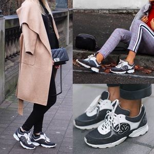 Chanel Grey Cruise Canvas Suede Trainer Sneakers
